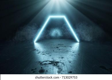 3d rendering of blue lighten hexagon on grunge background