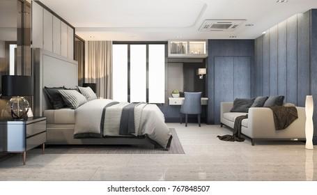 3d rendering blue modern luxury bedroom suite in hotel