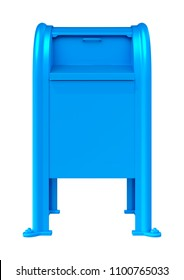 3D rendering of a blue postbox isolated on white background