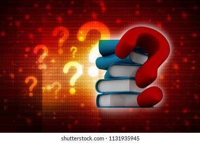 3d rendering Books with Question mark Symbol