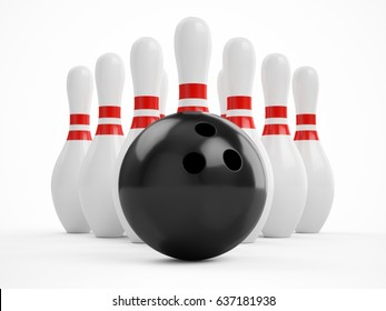 3D rendering bowling ball and pins over a white background