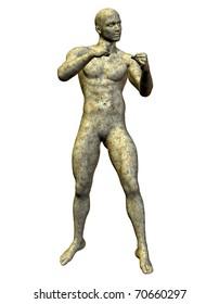 3D rendering Boxer stone statue of granite