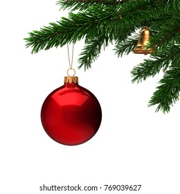3d Rendering branch of the New Year fir tree with a Christmas ball
