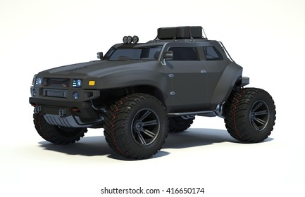 3D rendering of a brand-less generic concept off-road car in studio environment. No trademark issues as the car is my own design. The car does not exist in real life
