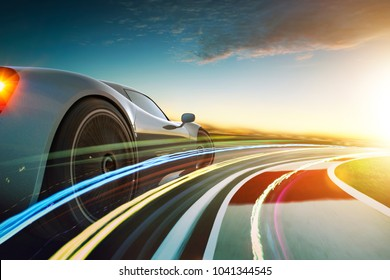 3D rendering of a brand-less grey sport car with light effect and motion blur . Race track background . Sunset scene .