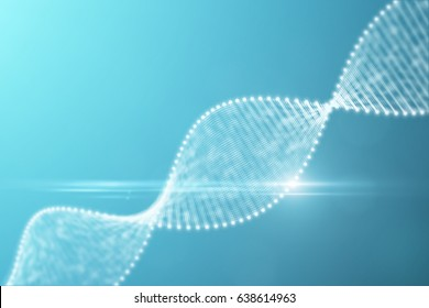 3D rendering. A bright particulate 3D rendered DNA on a blue and cyan pure background. DNA formed with points and lines. Science and technology concept. health and biology concept.