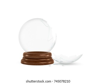 3d rendering of a broken glass sphere on a white background standing on a wooden base with nothing inside it. Keepsake template. Broken gift. Lost memories.