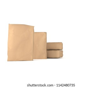 3d rendering of a brown sacks of cement on background