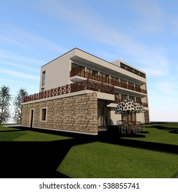 3D rendering of building on a blue sky background. view from front side. modern style hotel with decorative stone wall and wooden handrails. parasols with black and white patterns.