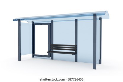 3D rendering of bus stop with blank vertical billboard (light box) isolated on white background