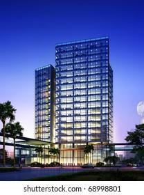 3D rendering of business building