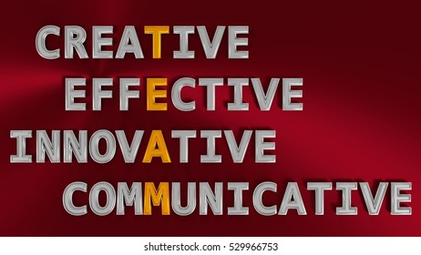 3D rendering business concept of TEAM acronym. Metallic words on red background with golden and silver letters.