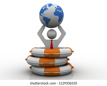 3d rendering business leader holding globe protected life belt