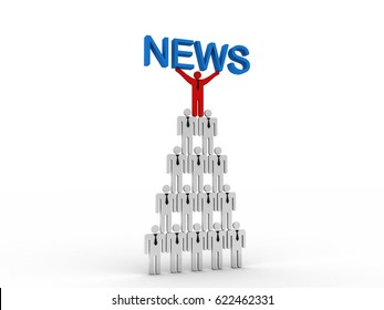 3d rendering business leadership holding text news