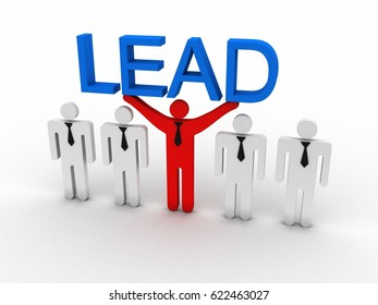 3d rendering business leadership holding text lead