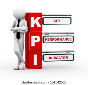 3d rendering of business person standing with kpi - key performance indicator signpost. 3d white people man character.