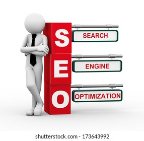 3d rendering of business person standing with seo - search engine optimization. 3d white people man character.