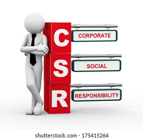 3d rendering of business person standing with csr - corporate social responsibility. 3d white people man character.