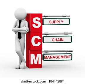 3d rendering of business person standing with scm -  supply chain management. 3d white people man character.