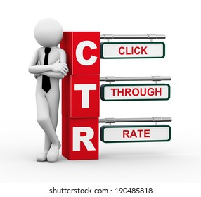 3d rendering of business person standing with ctr - click through rate. 3d white people man character