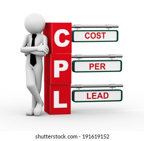 3d rendering of business person standing with cpl - cost per lead. 3d white people man character