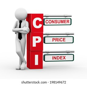 3d rendering of business person standing with cpi - consumer price index. 3d white people man characte