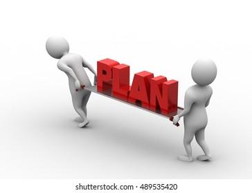 3d rendering of Business plan  concept