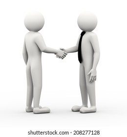 3d rendering of businessman handshake. 3d white people man character