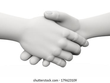 3d rendering of businessman shaking hands. 3d white people man character