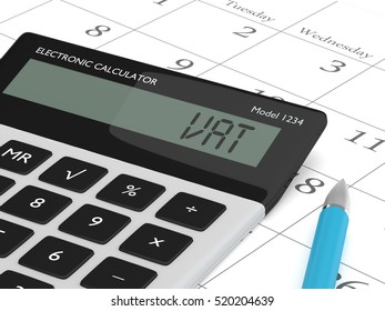 3d rendering of calculator wit vat text  lying on calendar