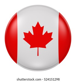 3d rendering of Canada flag on a button