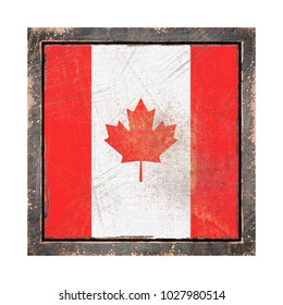 3d rendering of a Canada  flag over a rusty metallic plate in an old frame. Isolated on white background.