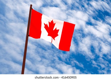 3d rendering Canada flag with sky background