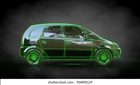 3d rendering of a car with green outlined stroke on a balck background