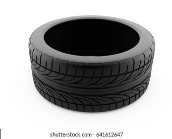 3d rendering of car tire on a white background