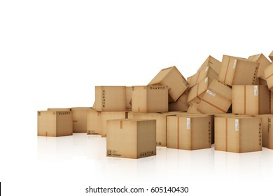 3d rendering a lot of Cardboard boxes background. Transportation and business concept.
