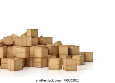 3d rendering a lot of Cardboard boxes background. Moving Transportation and business concept.