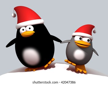 3d rendering of a cartoon mother and child penguin with Christmas hats