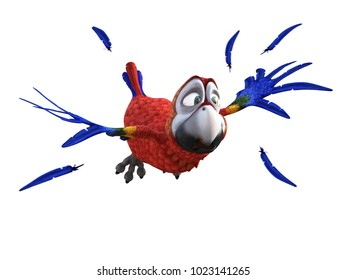 3D rendering of cartoon parrot flying and looking afraid like its fleeing something. Feathers in the air around it. White background.