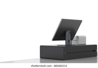 3d rendering cashier machine or cash register on white background