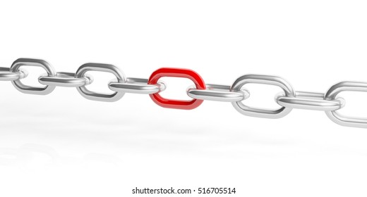 3d rendering chain isolated on white background