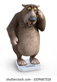 3D rendering of a charming cartoon bear looking shocked when weighing himself on a scale. White background.