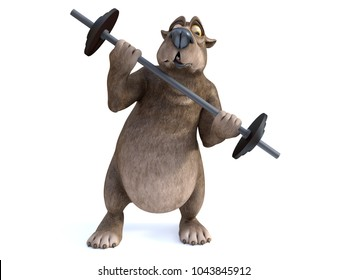 3D rendering of a charming cartoon bear trying to lift a barbell. He looks like it's too heavy. White background.