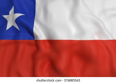3d rendering of a Chile flag waving