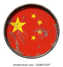 3d rendering of a China flag over a rusty metallic plate. Isolated on white background.