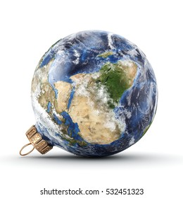 3D rendering Christmas ball in the form of planet Earth on a white background. Used NASA data.