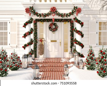 3d rendering. christmas decorated porch with little trees and lanterns.
