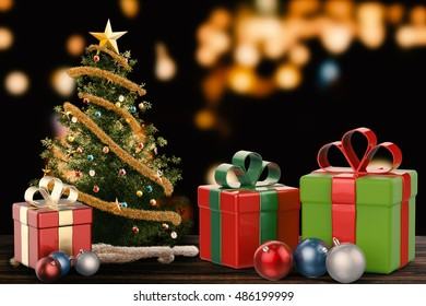 3d rendering christmas gift and christmas ornament