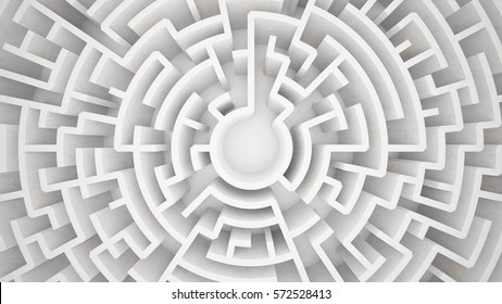 3d rendering circular maze in top view
