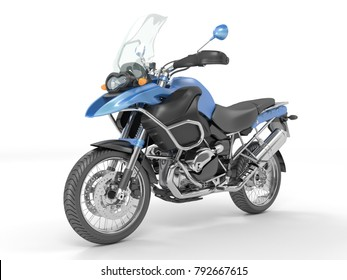 3d rendering classic black blue motorcycle on a white background.